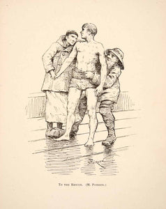1883 Print To The Rescue Men Woman French Raincoat Bare Chested Maurice XAT4