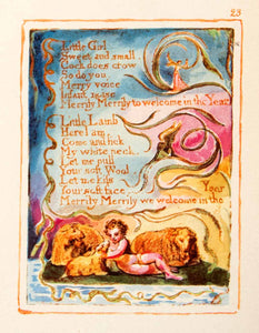 1964 Offset Lithograph William Blake Spring Sheep Child Design Poetry XAT5