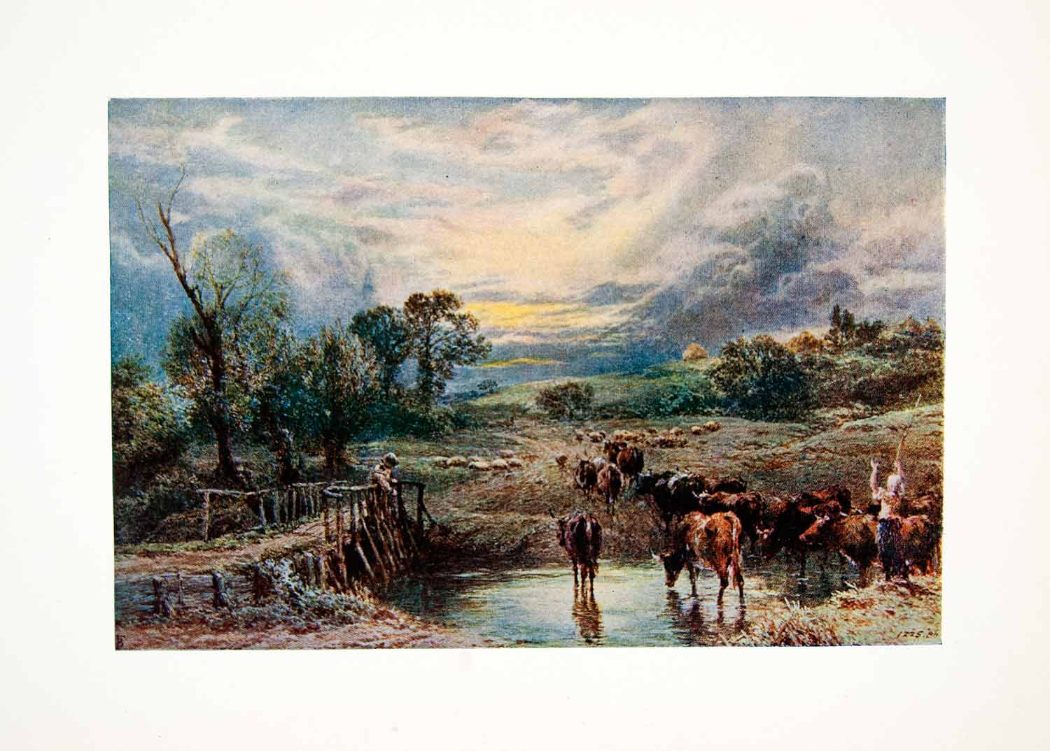 1906 Color Print Myles Birket Foster Cattle Pasture Agriculture Farmer XAT7