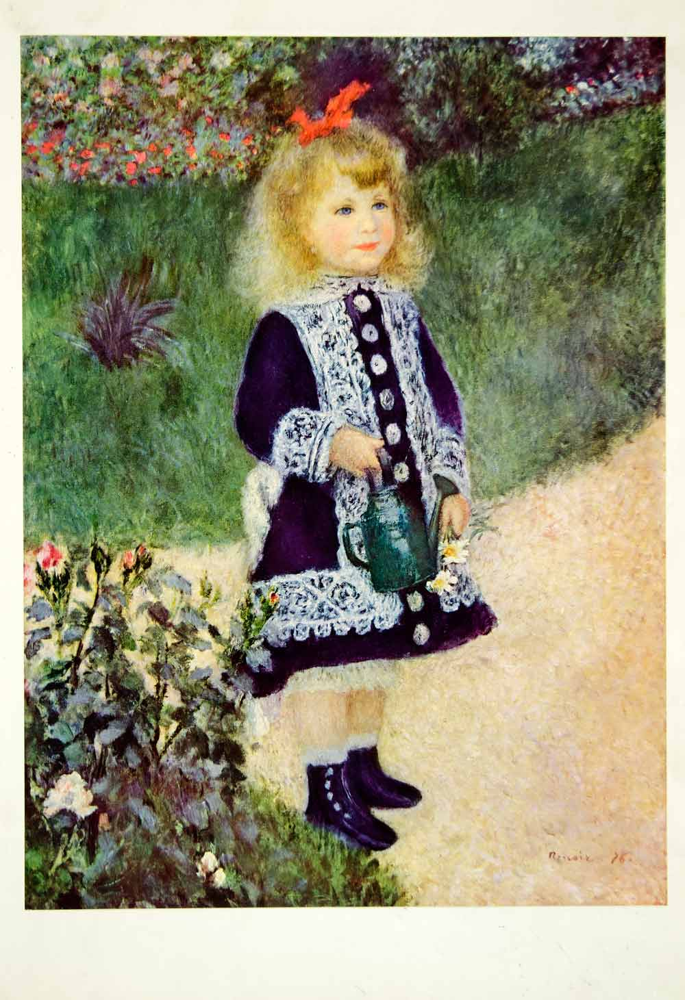 1957 Color Print Pierre-Auguste Renoir Art Girl Watering Can Impressionist XATA6