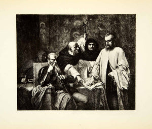 1875 Etching Louis Gallait Art Oath Juan de Vargas Machuca Duke Alva XATA7 - Period Paper