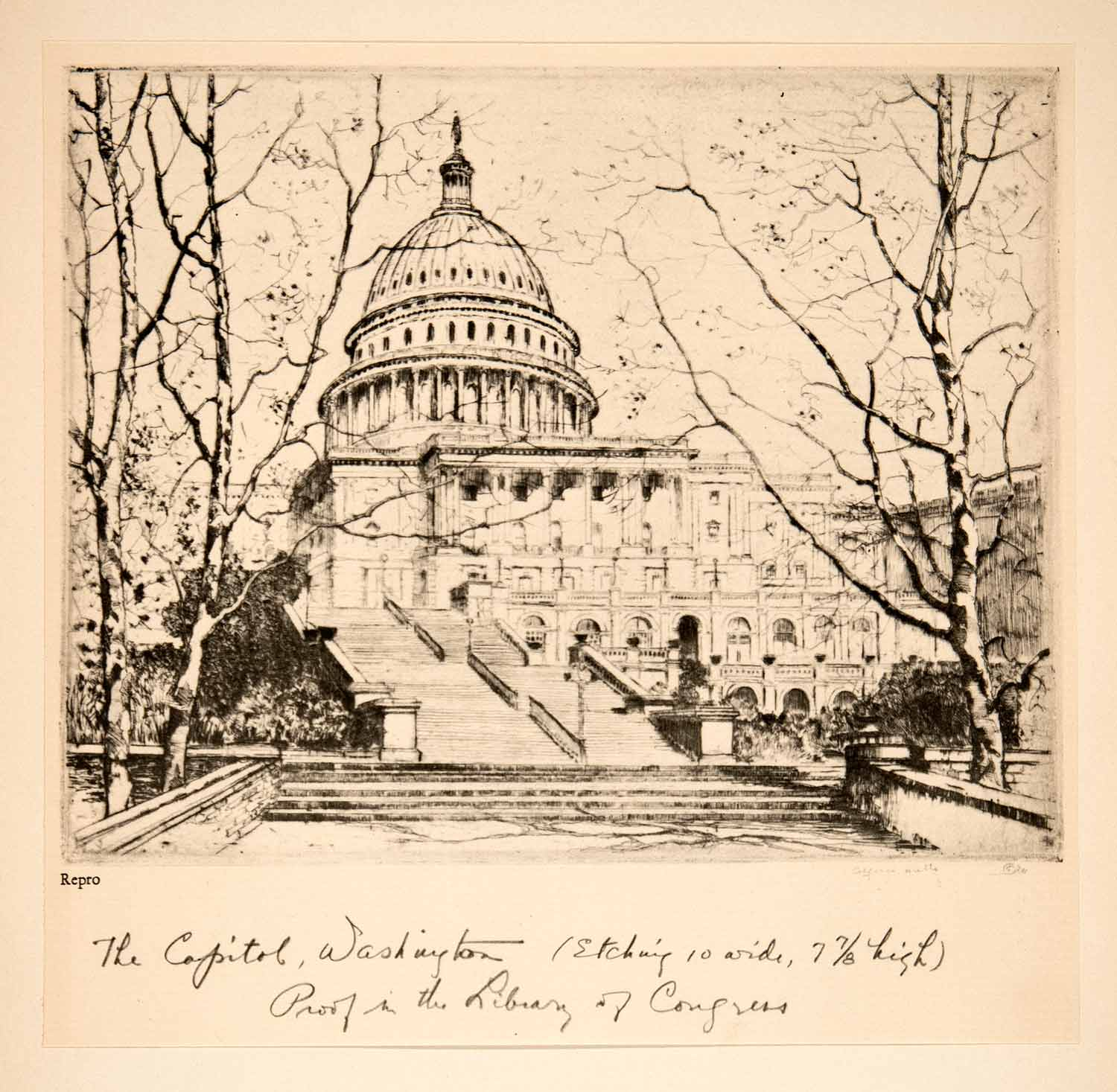 1929 Aquatone Alfred Hutty United States Capitol Washington DC Government XAU7