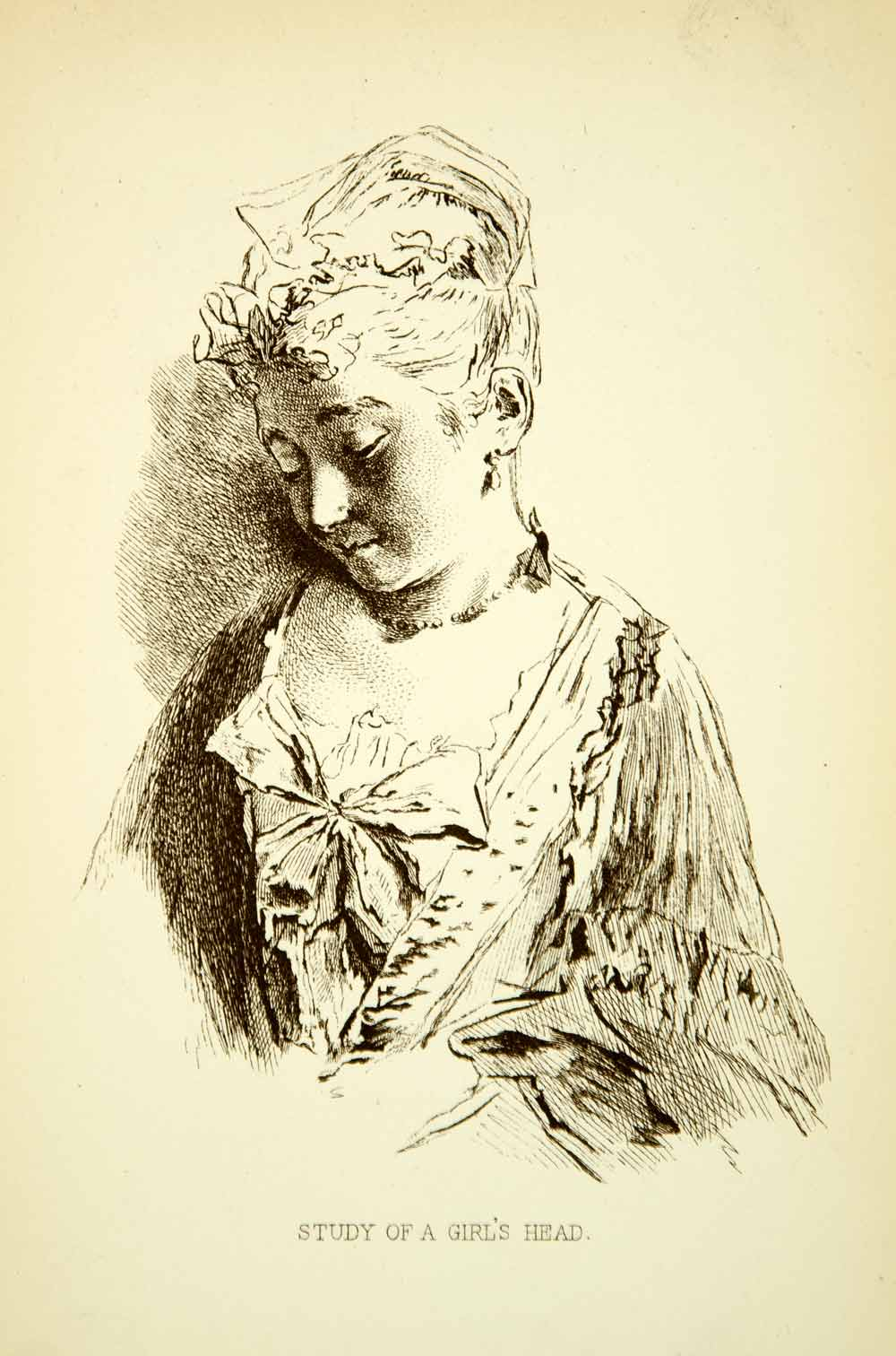 1883 Wood Engraving Jean-Antoine Watteau Baroque Art Study Girls Head XAUA1