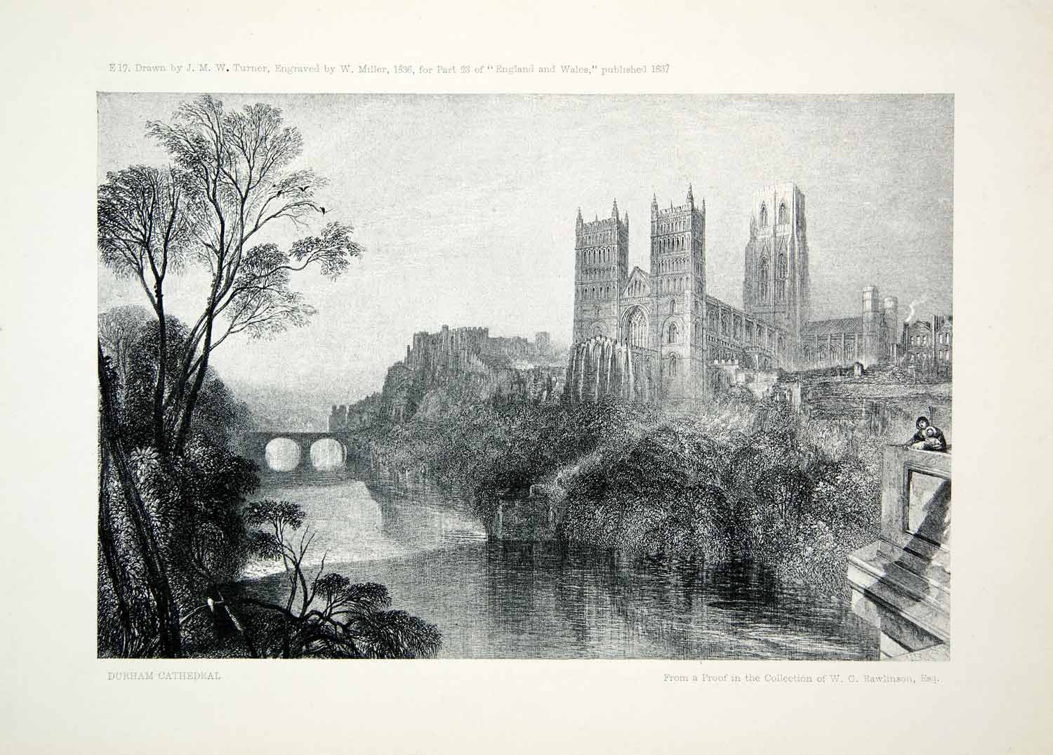 1903 Print Durham Cathedral England Church River Wear Mallord Turner Norman XAV9 - Period Paper