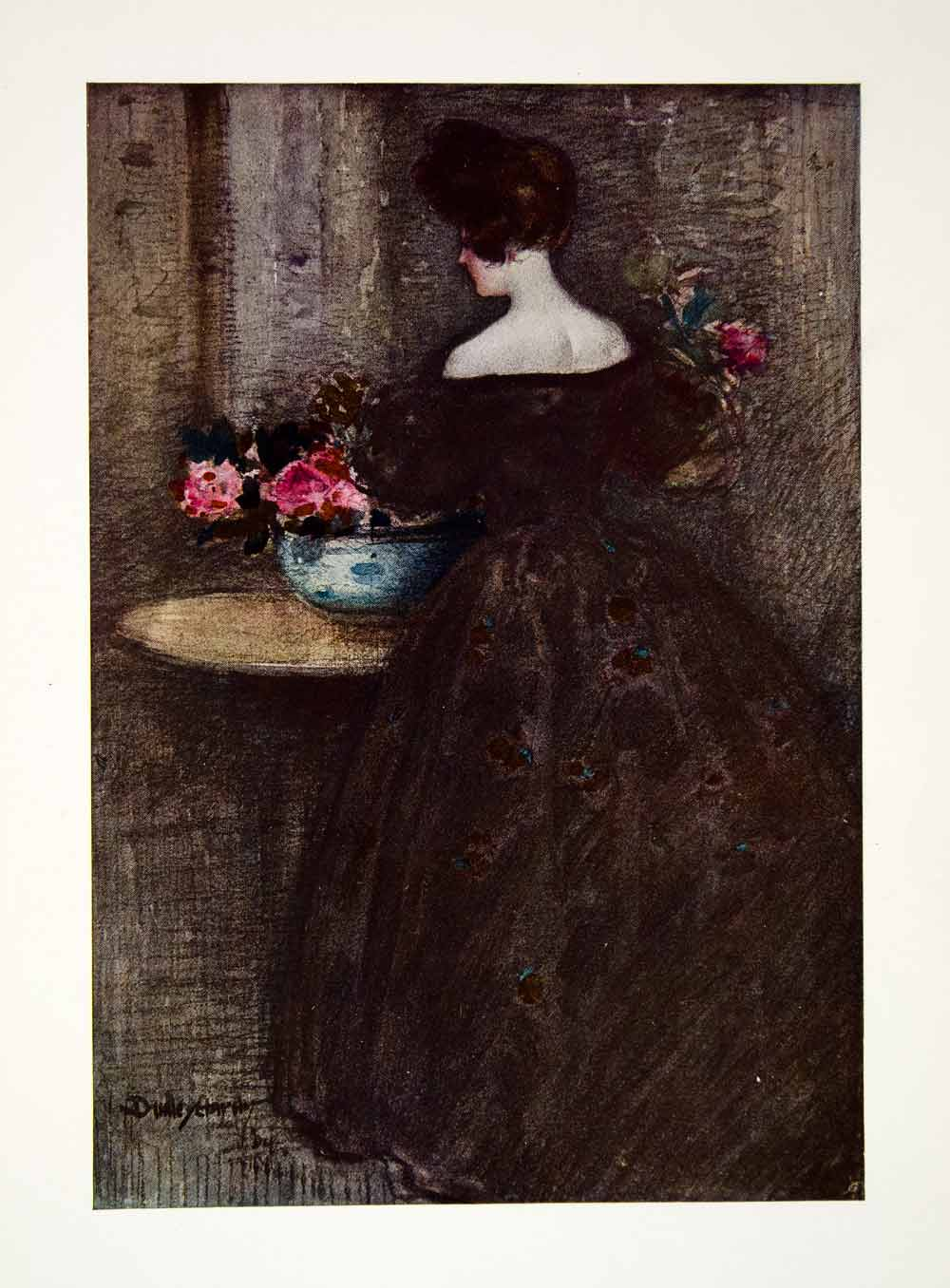 1906 Color Print Dudley Hardey Art Peonies Flowers Woman Dress Floral XAW1