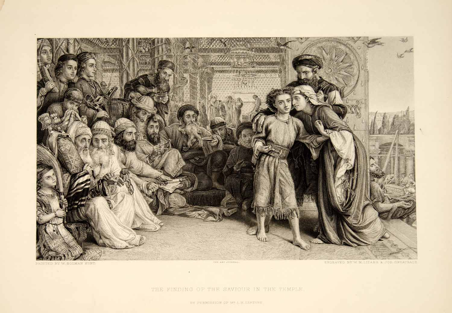 1893 Steel Engraving William Holman Hunt Saviour Temple Religious LeFevre XAW2
