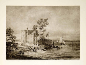 1939 Rotogravure Turner Cowes Castle Isle Wight Water England United XAW6