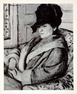 1937 Print Black Hat Art Adolphe Borie Woman Fashion Chair Indoors Portrait XAW8