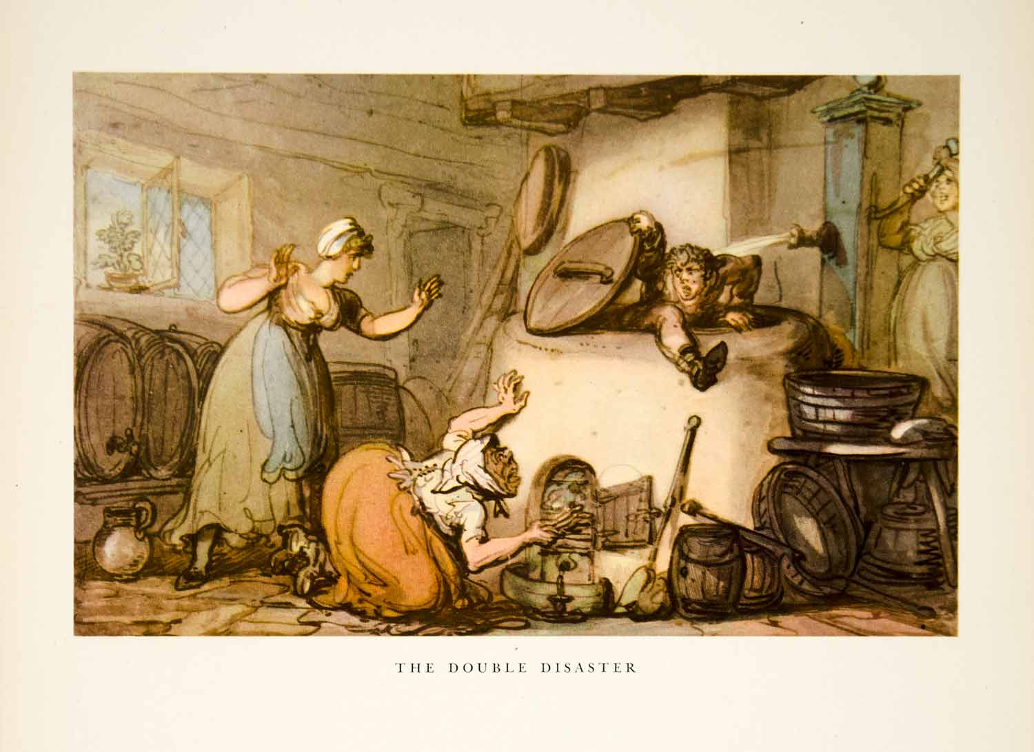 1947 Aquatone Print Thomas Rowlandson Double Disaster Philandering Swain XAW9