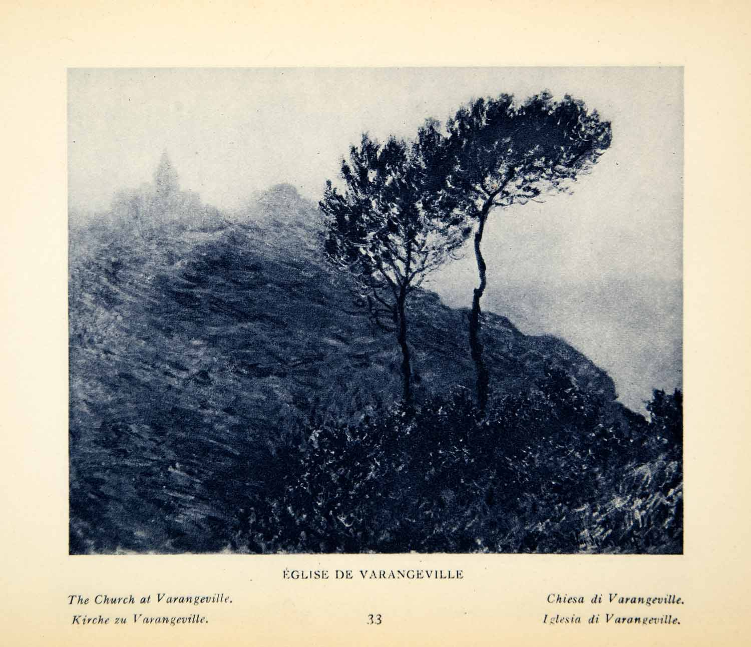 1924 Rotogravure Eglise Church Varangeville France Landscape Tree Claude XAX9