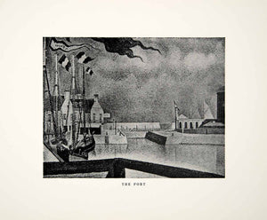 1923 Print Georges Seurat Port Art Ship Marina Sail Mast Flag Wind Dock XAY5