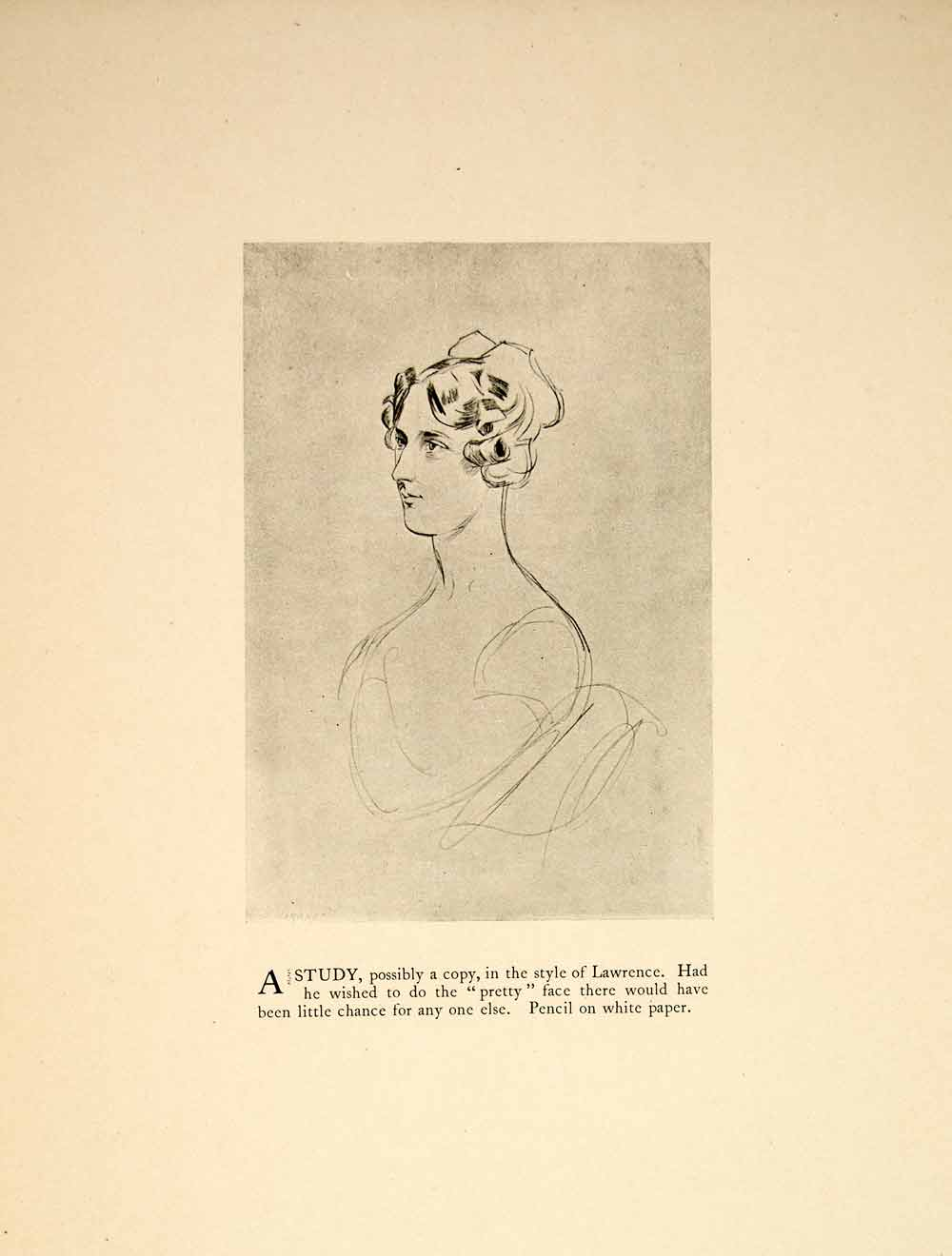 1897 print charles keene lawrence style figure pencil sketch woman side xay6