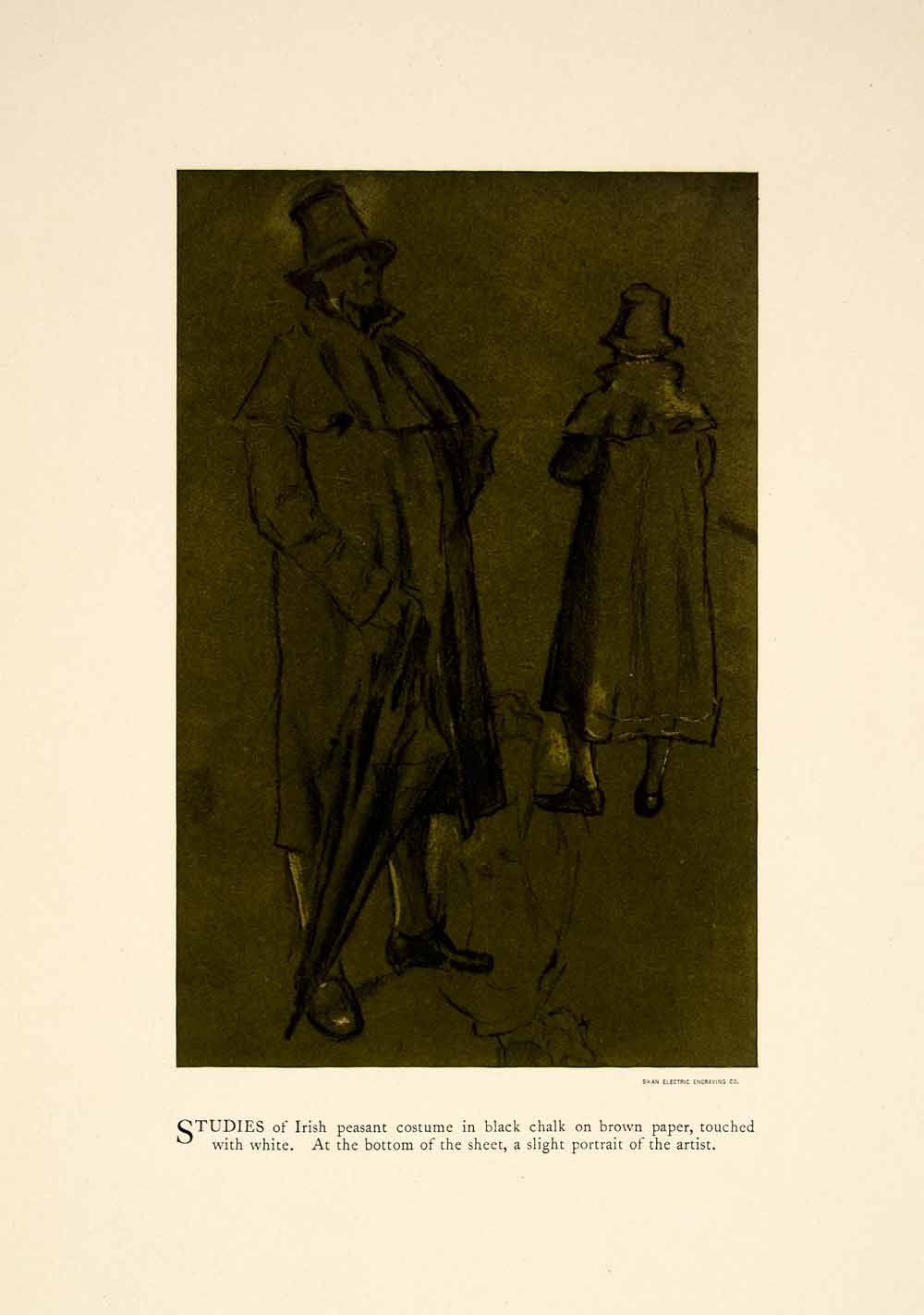1897 Print Charles Keene Chalk Figure Sketch Irish Peasants Costume XAY6