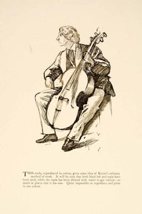1897 Print Charles Keene Figure Art Man Playing Cello Musician String XAY6