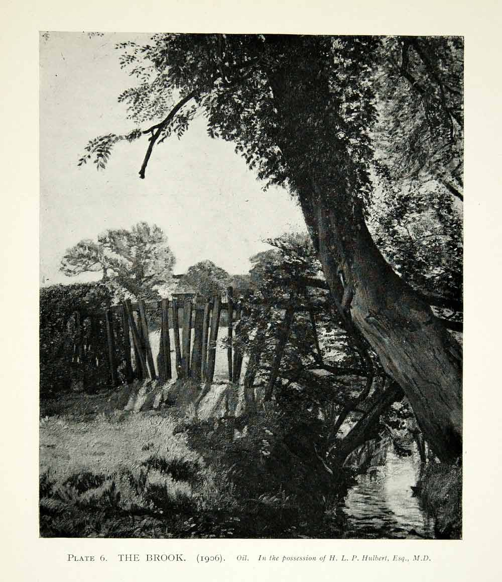 1925 Print Albert Rutherston Brook Landscape Art Tree Foliage Nature Fence XAZ4