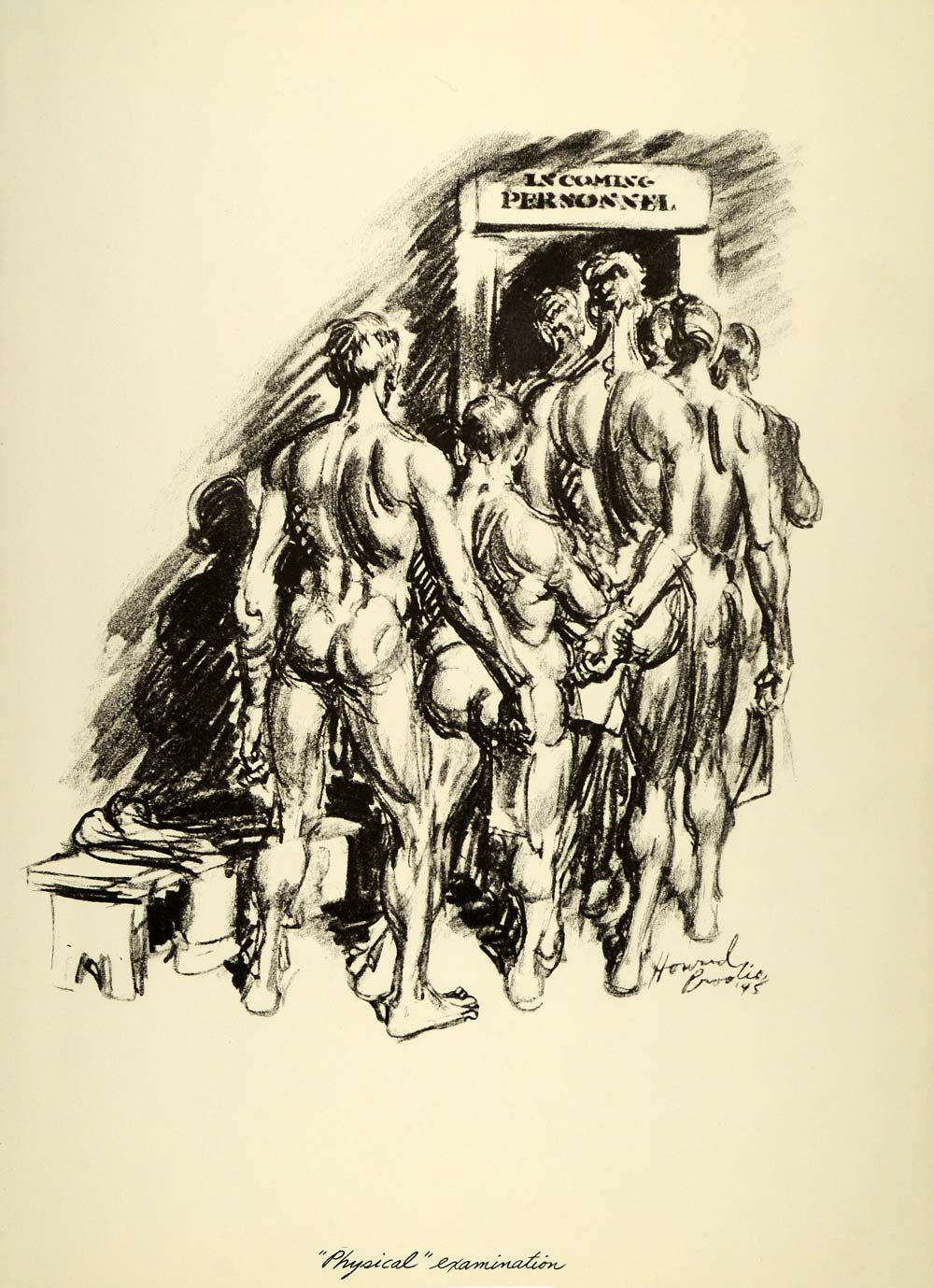 1963 Print Physical Examination Nude Men Howard Brodie Soldier Army World  War II