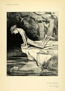 1904 Print Honore Daumier Narcissus Beautiful Nude Mythology Water XDA5