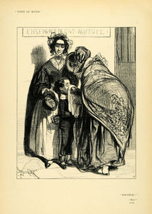1904 Print Paul Gavarni French Art Mother Blowing School Son Nose Paris XDA5
