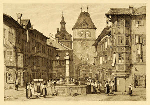 1915 Print Samuel Prout Art Schaffhuasen Switzerland Clock Tower Cityscape XDA6