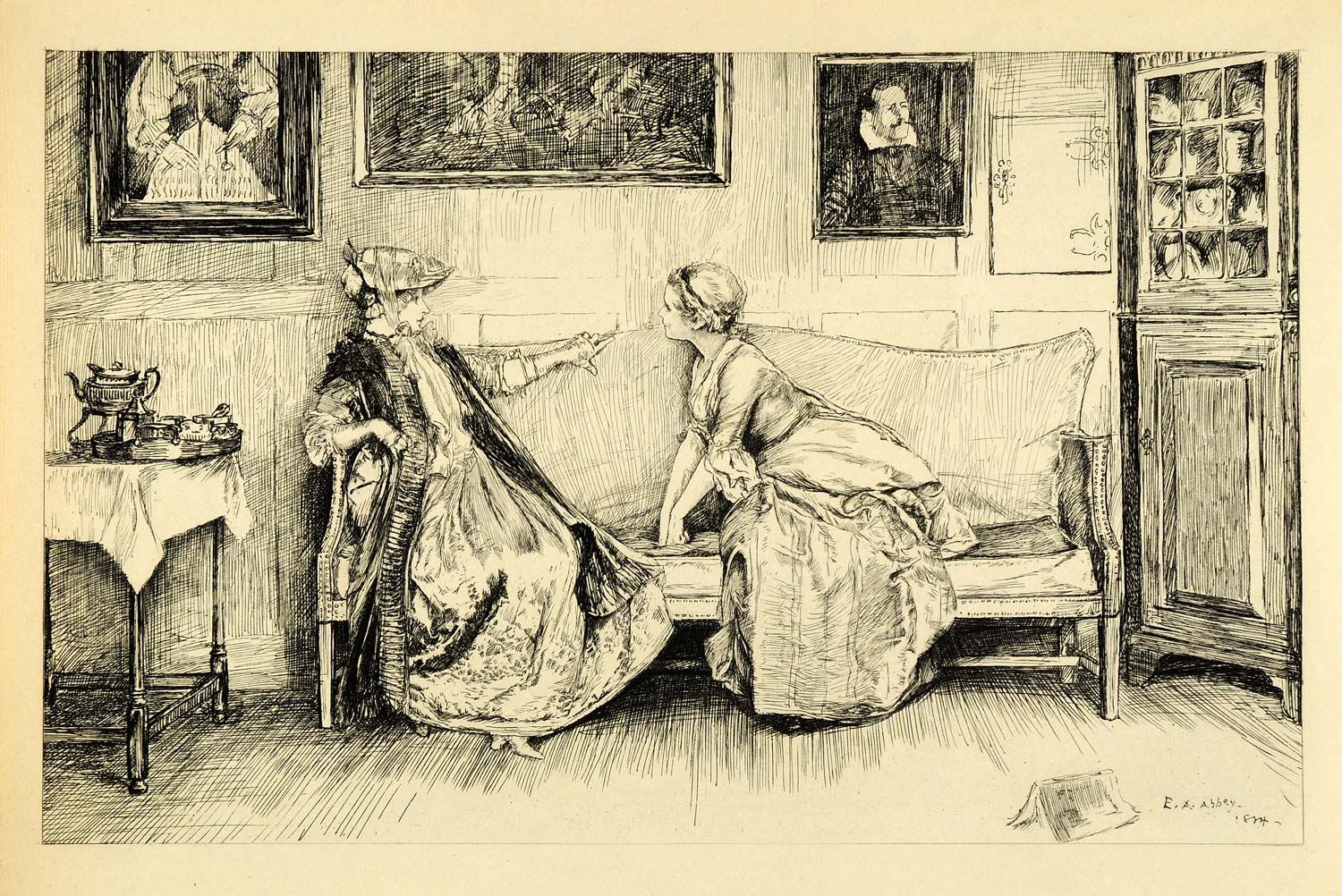 1920 Photogravure Edwin Austin Abbey Art She Stoops Conquer Play Scene XDA7