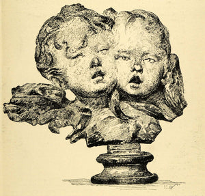 1920 Wood Engraving Marie Weber Artwork Children Angel Head Sculpture XDA7