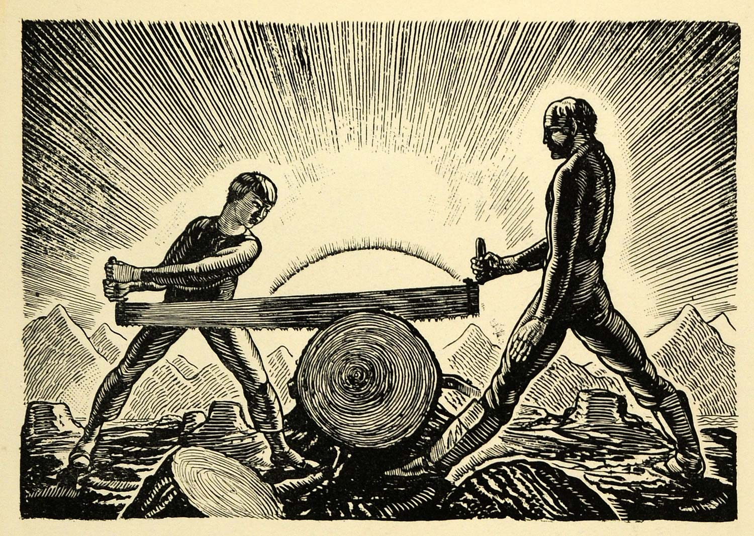 1920 Wood Engraving Rockwell Kent Art Father Son Saw Cutting Wood XDA7