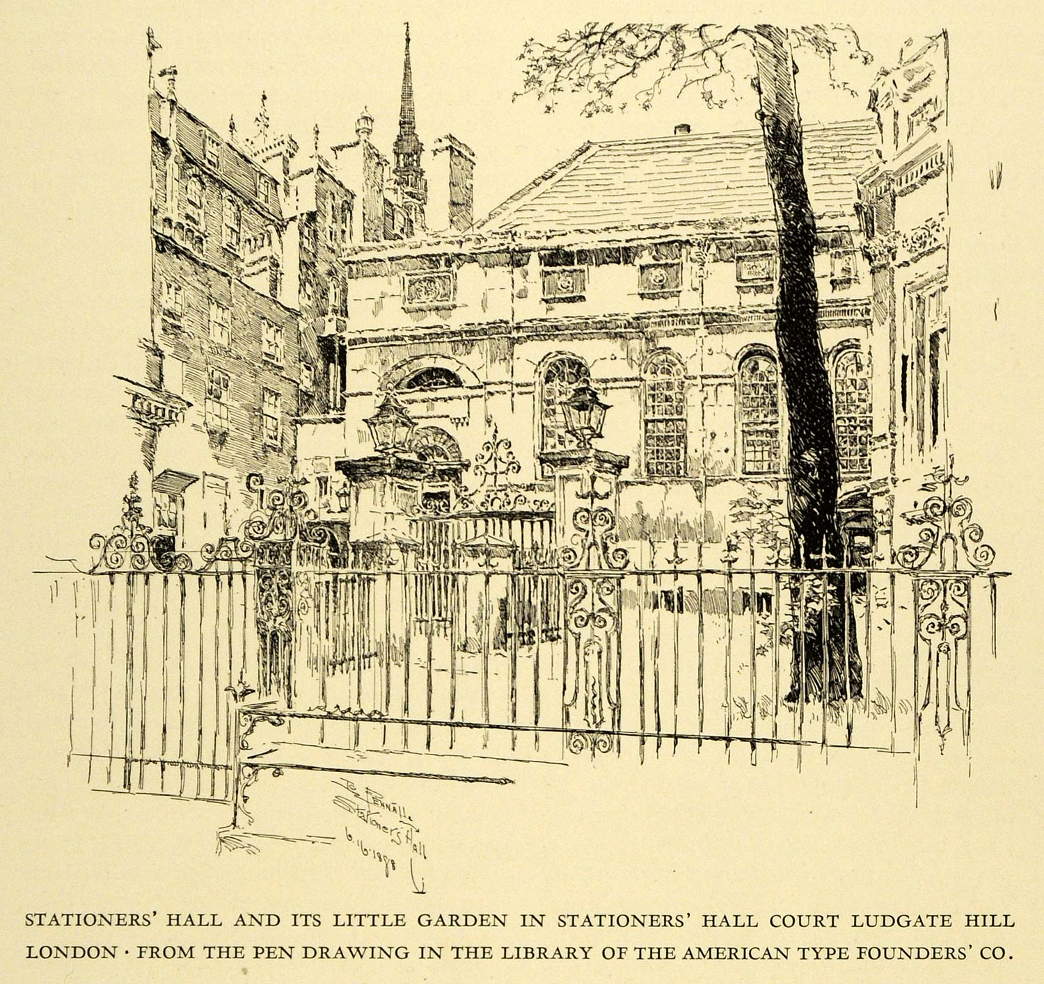 1925 Wood Engraving Stationers Hall Garden Court Ludgate London Joseph XDA8