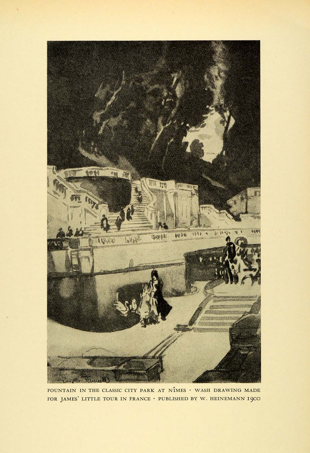 1925 Print Fountain Nimes Joseph Pennell France Architecture Landmark XDA8