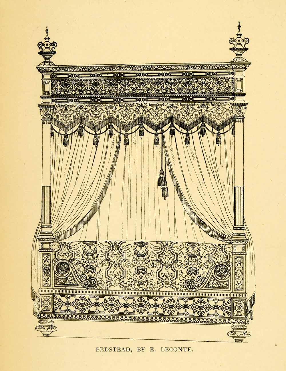 1897 Wood Engraving Leconte Bedstead Curtains Drape Skirt Fourpost Corded XDB1