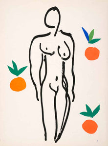 1969 Lithograph Henri Matisse Art Naked Nude Woman Abstract Modern Oranges Fruit