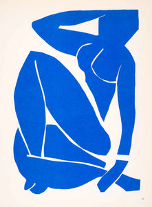 1969 Lithograph Henri Matisse Art Blue Nude Woman Naked Abstract Paper Cutout