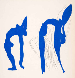1969 Lithograph Henri Matisse Acrobats Abstract Art Blue Nude Women Female Naked