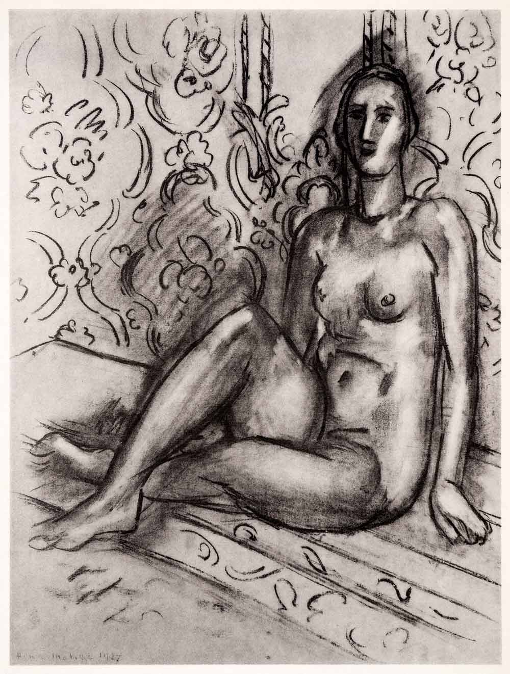 1969 Photolithograph Henri Matisse Seated Nude Sketch Naked Woman Modern Art