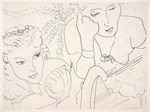 1969 Photolithograph Henri Matisse Two Girls Pen Ink Sketch Abstract Modern Art