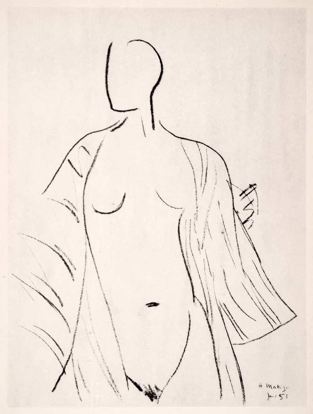 1969 Photolithograph Henri Matisse Art Nude Woman Nightdress Female Form Modern