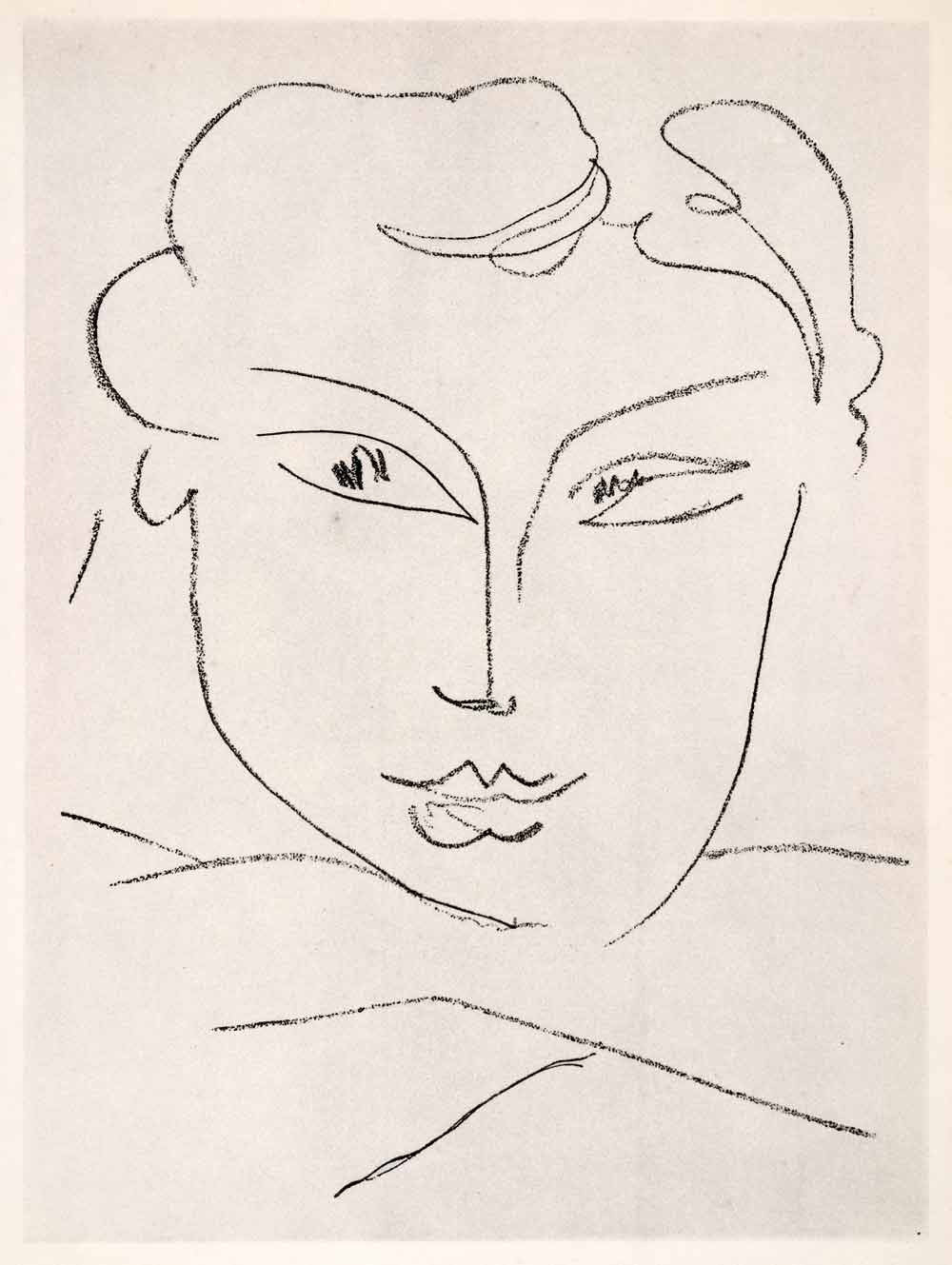 1969 photolithograph matisse girls head face portrait pencil sketch modern art period paper