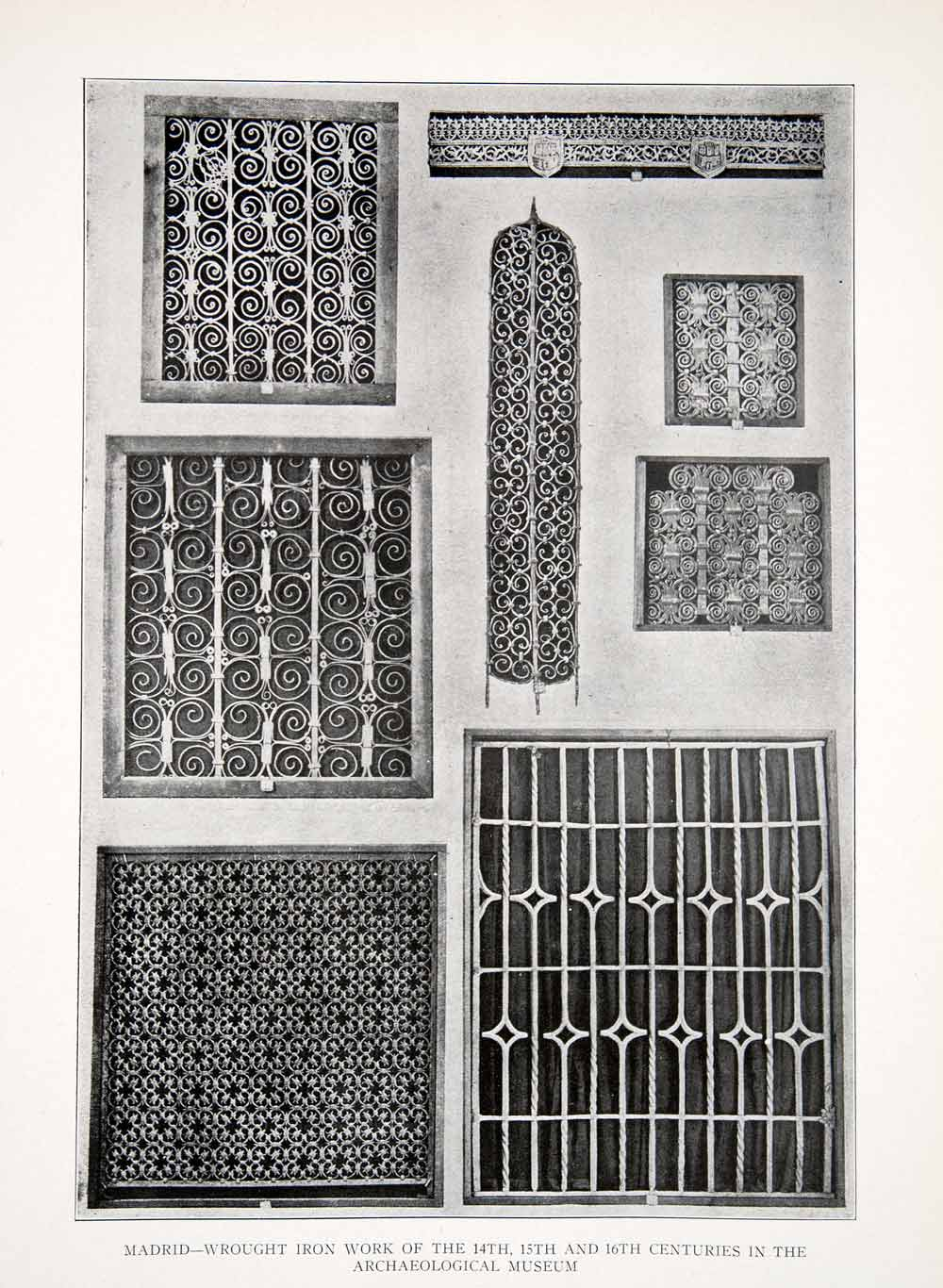 1925 Print Archaeological Museum Wrought Iron Gate Work Madrid Spain XDC5
