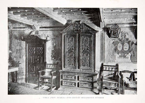 1925 Print Renaissance Interior Wardrobe Furniture Torla Huesca Spain XDC5