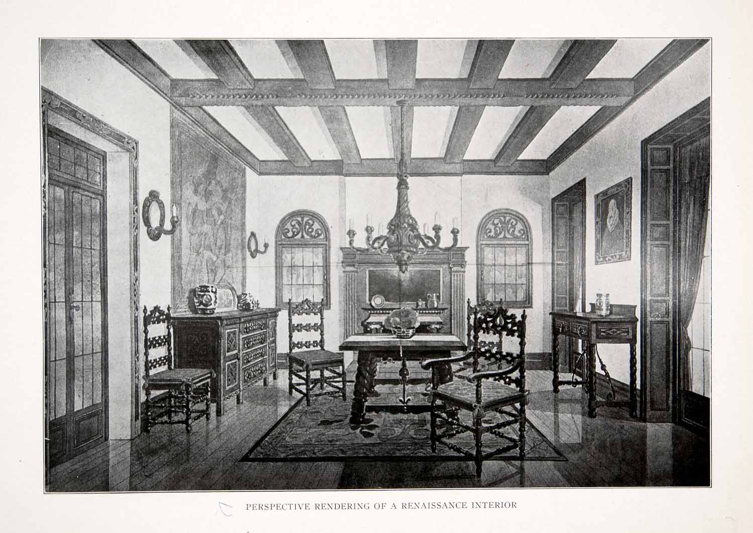 1925 Print Interior Renaissance Perspective Rendering Architecture Historic XDC5
