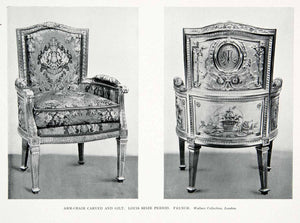 1927 Print French Armchair Louis Seize Period Carved Gilding Monogram XDC6