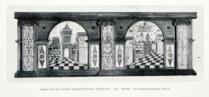 1927 Print Swiss Inlaid Chest Architectural Subjects Towers Castle Museum XDC6