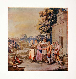 1917 Color Print Flemish Textile Peasant Wedding Royal Tapestry Factory XDC8