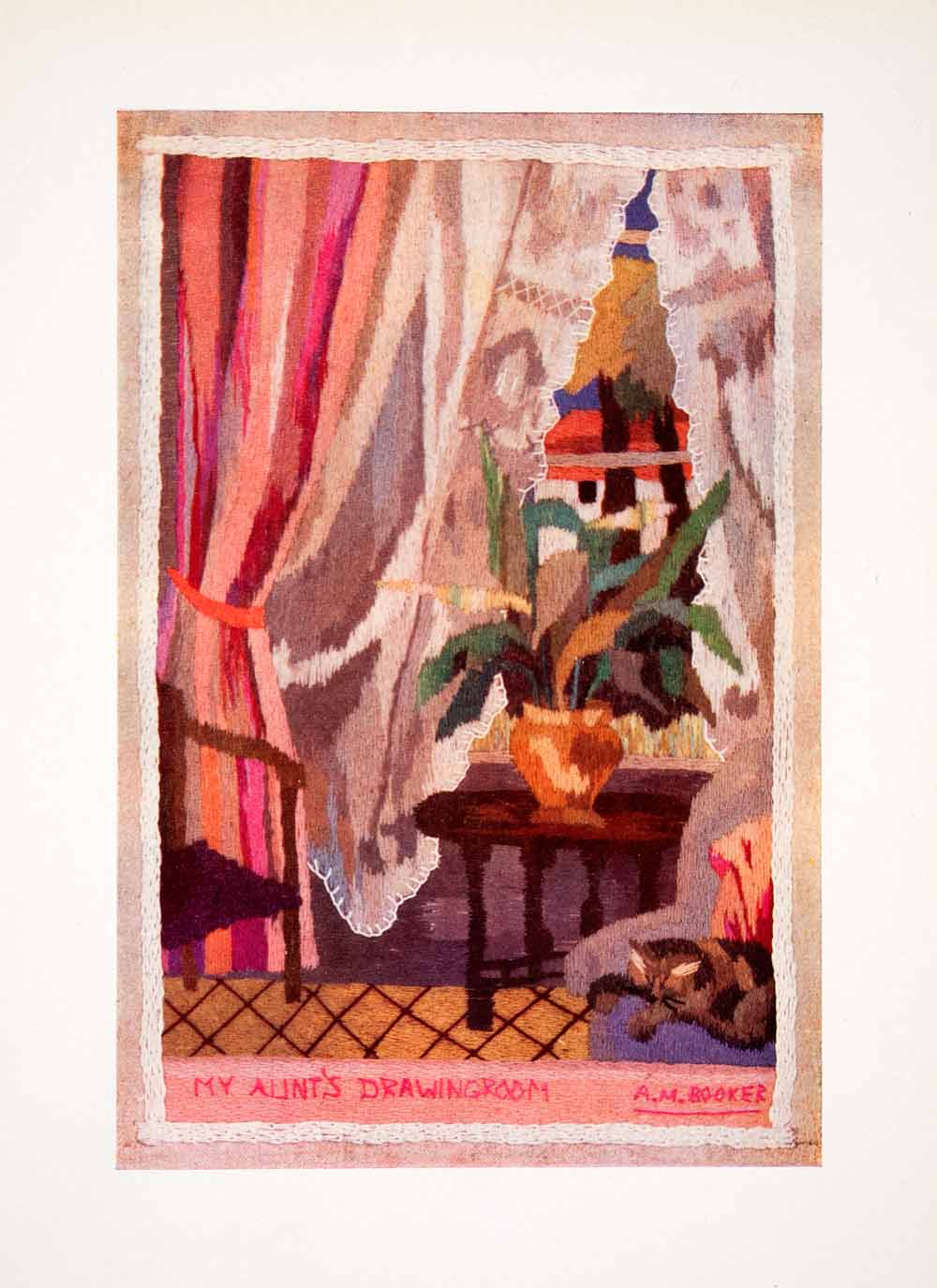 1938 Color Print Aileen M. Booker Aunts Drawing Room Embroidery Needlework XDD1