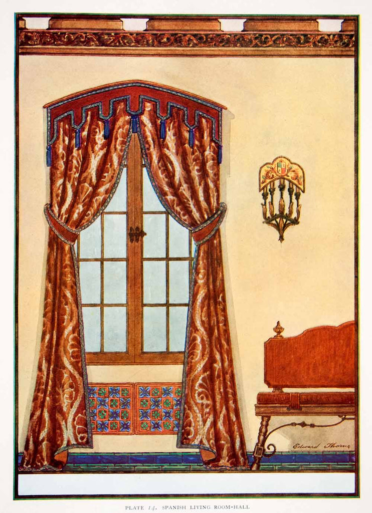 1929 Color Print Layout Spanish Living Room Decorative Curtain Edward XDD4