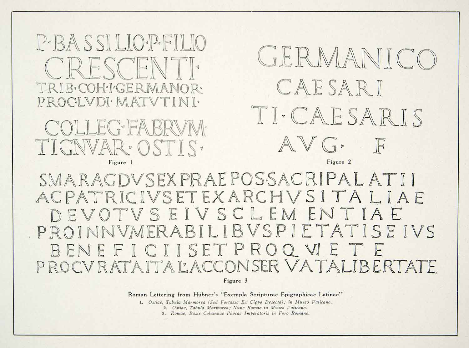 1928 Print Emil Hubner Roman Alphabet Lettering Typeface Calligraphy Font XDE2