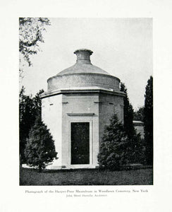 1928 Prints Harper Poor Mausoleum Tomb Woodlawn Cemetery J. Howells XDE2