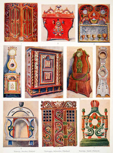 1953 Color Print Norway Finland Sweden Home Decor Antique Furniture XDE3