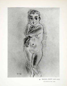 1965 Print Raoul Duffy Modern Pencil Art Standing Nude Woman Female Form XDE6