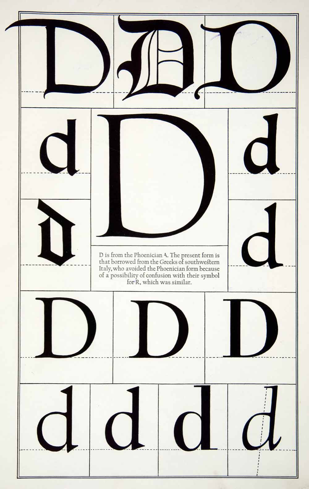 1942 Print Diagram Letter D Typeface Design Roman Greek Frederic Goudy XDE8