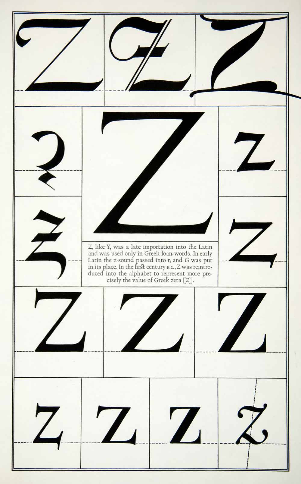 1942 Print Letter Z Greek Alphabet Typography Graphic Design Frederic Goudy  XDE8